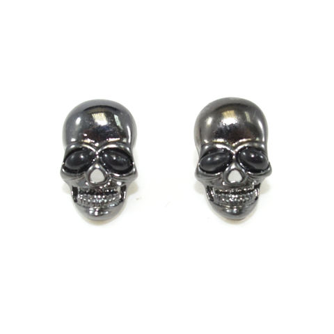 DARK,SILVER,SKULL,HEAD,EARRINGS