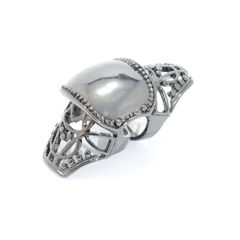 DARK,SILVER,HOLLOW,KNUCKLE,RING