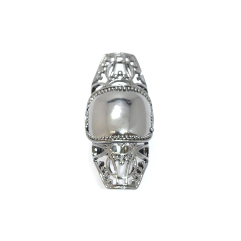 DARK SILVER HOLLOW KNUCKLE RING - product image