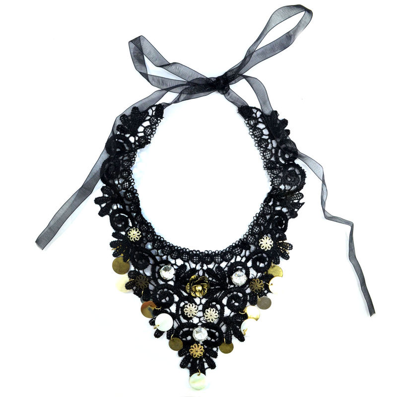 CRYSTALS AND FLOWERS LACE COLLAR NECKLACE - product image