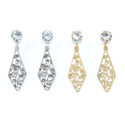 CRYSTAL,WITH,HOLLOW,PATTERN,RHOMBUS,DROP,EARRINGS