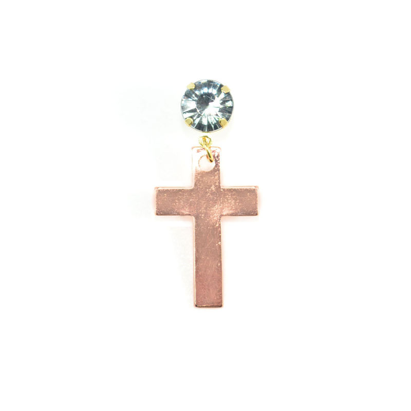 CRYSTAL WITH BRONZE TONE CROSS DROP EARRING - product image