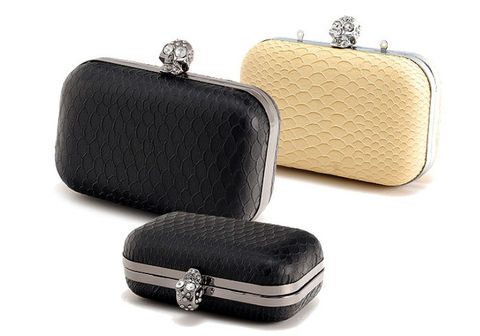 CRYSTAL,SKULL,SNAKE,SKIN,CLUTCH,BAG