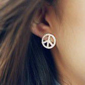 CRYSTAL PEACE SIGN EARRINGS - product image