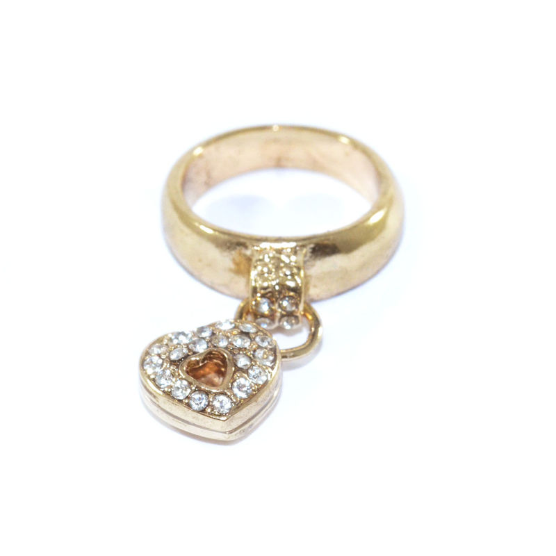 CRYSTAL DECOR HOLLOW HEART RING - product image