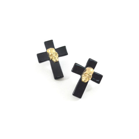 SHINY,CROSS,WITH,SKULL,DECOR,EARRINGS