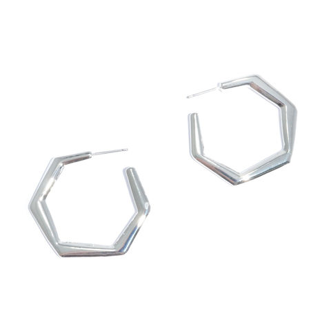 SHINNY,HEXAGON,EARRINGS
