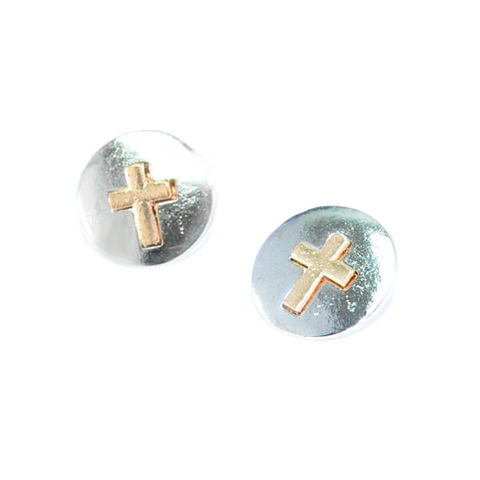 ROUND,METAL,WITH,GOLD,TONE,CROSS,EARRINGS