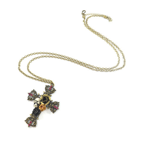 ROSE,AND,SKULL,DECOR,CROSS,PENDANT,NECKLACE