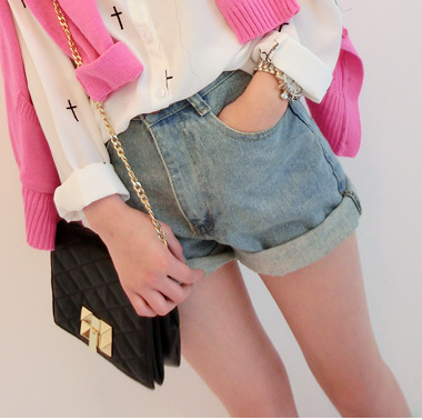 ROLL UP DENIM SHORTS 111 - product image