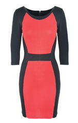 RED,BLOCK,BODYCON,DRESS