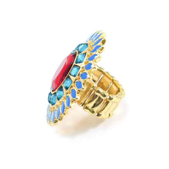 RED AND BLUE CRYSTALS FLORAL RING - product image