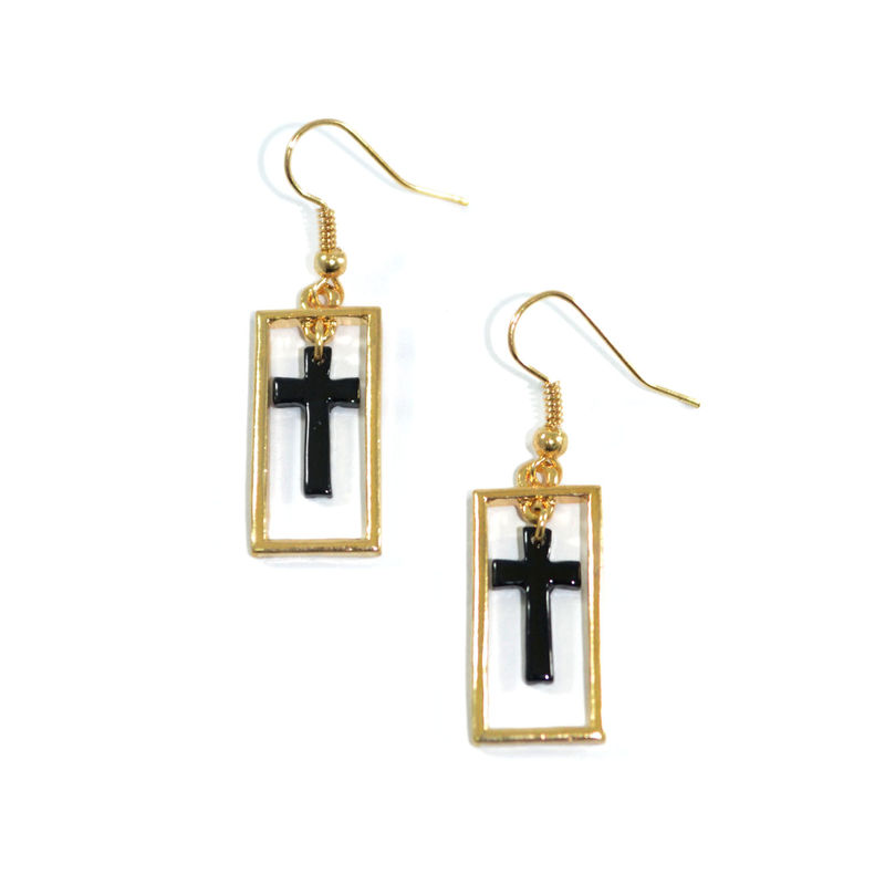 RECTANGLE EDGE AND CROSS DROP EARRINGS - product image