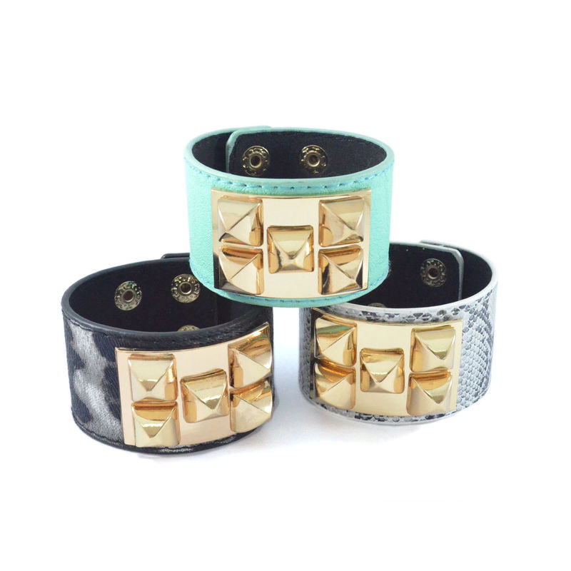 PYRAMID DECOR PATTERN FAUX LEATHER BRACELET - product image