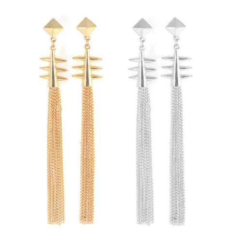 PYRAMID,AND,SPIKE,LONG,TASSELS,DROP,EARRINGS