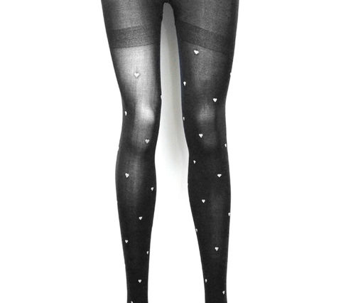 POLKA,HEART,TIGHTS,BLACK
