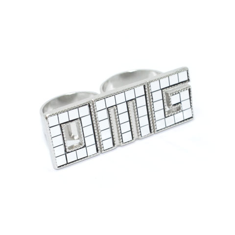 PIXEL,OMG,DOUBLE,RING,OMG RING, TEXT RING, PIXEL RING, SILVER PIXEL RING