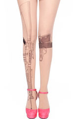 PISTOL,AND,MACHINE,GUN,TATTOO,PATTERN,TIGHTS
