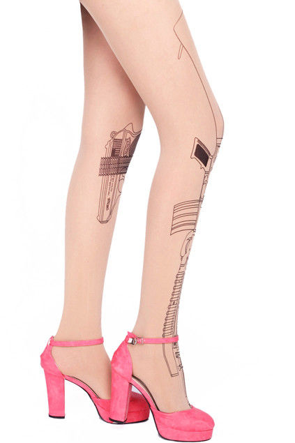 PISTOL AND MACHINE GUN TATTOO PATTERN TIGHTS - product image