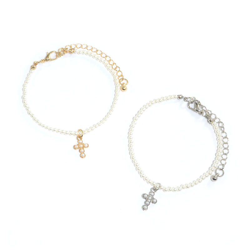 PEARL DECOR CROSS PENDANT WITH PEARL BRACELET - product image
