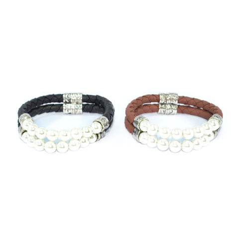 PEARL,AND,WOVEN,FAUX,LEATHER,MAGNETIC,BRACELET