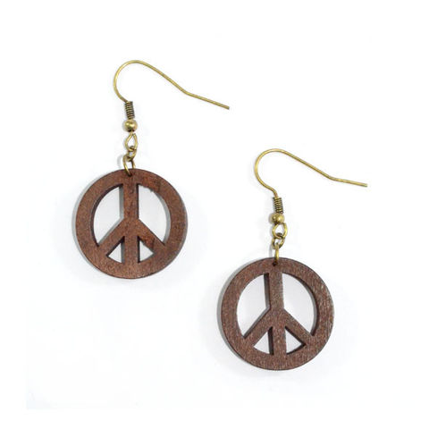 PEACE,LOGO,WOODEN,EARRINGS