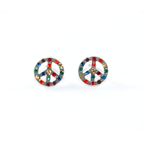 PEACE,LOGO,WITH,RAINBOW,CRYSTALS,EARRINGS