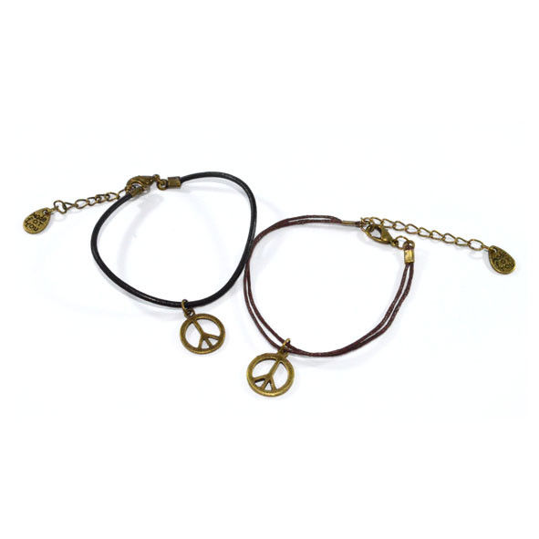 PEACE CHARM WITH LEATHER STRING BRACELET - product image