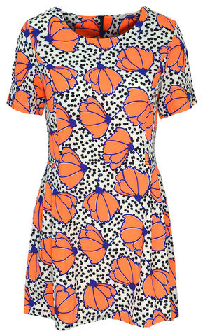 ORANGE,FLORAL,PATTERN,DRESS