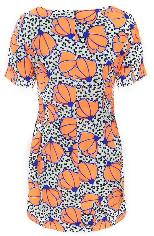 ORANGE FLORAL PATTERN DRESS - product image