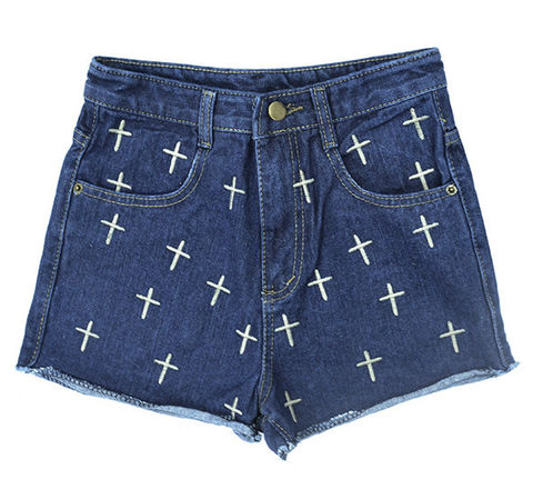 NAVY,CROSS,PATTERN,DENIM,SHORTS