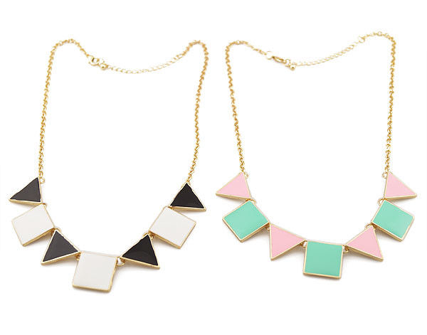 MULTI SQUARE AND TNANGLE NECKLACE - product image