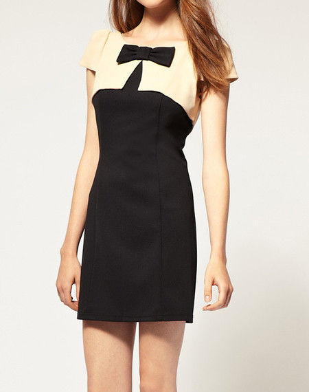 MONOTONE BOW DRESS - product image
