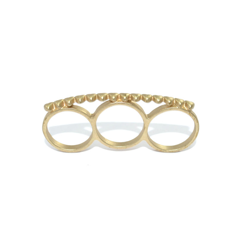 MINI HEARTS TRIPLE FINGER RING - product image