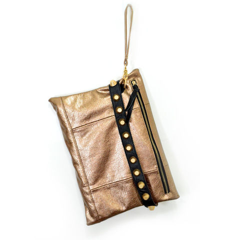 METALLIC,TONE,STUD,CLUTCH,BAG