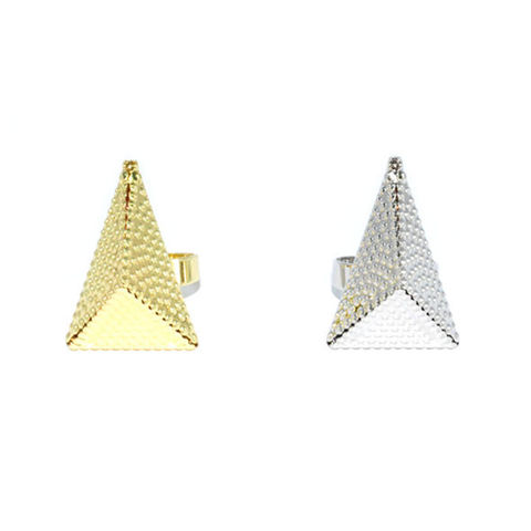 METAL,TONE,PYRAMID,RING,triangle ring, pyramid ring, arrow ring