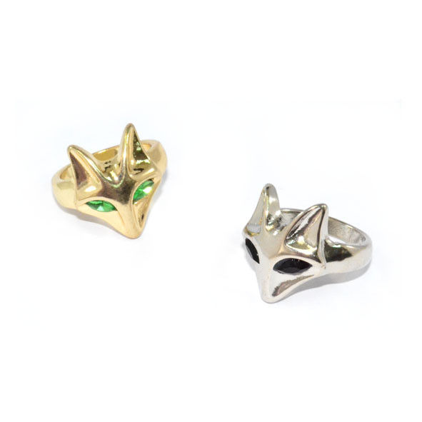 METAL TONE CRYSTAL EYES FOX RING - product image