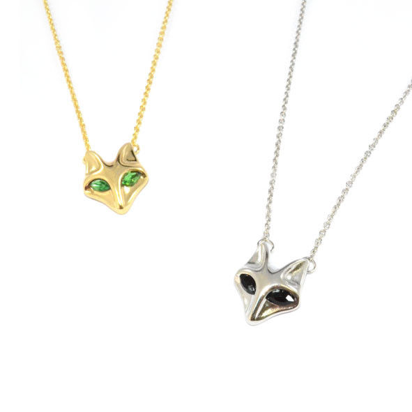 METAL TONE CRYSTAL EYES FOX NECKLACE - product image