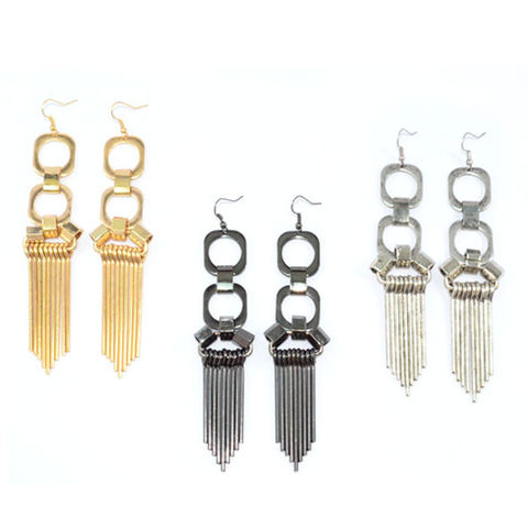 METAL,STYLE,DROP,EARRINGS