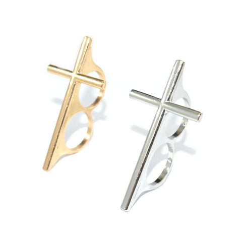 METAL,CROSS,DOUBLE,RING,double finger cross ring, long cross ring, thin cross ring