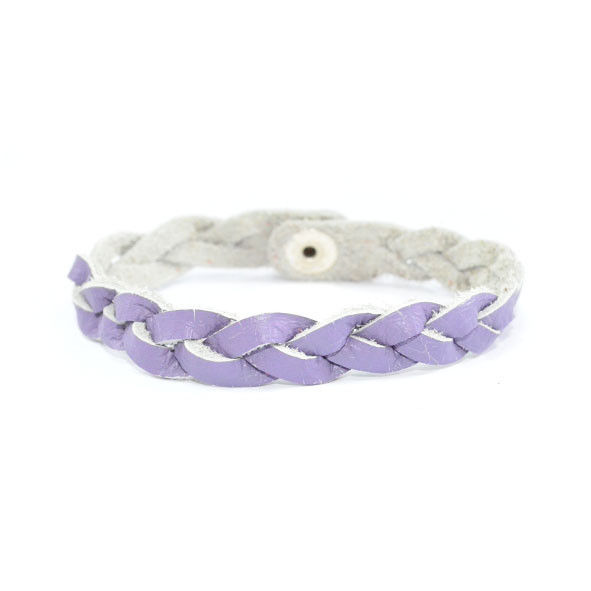 LIGHT PURPLE WOVEN FAUX LEATHER BRACELET - product images  of