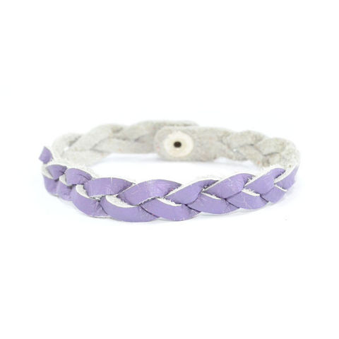 LIGHT,PURPLE,WOVEN,FAUX,LEATHER,BRACELET