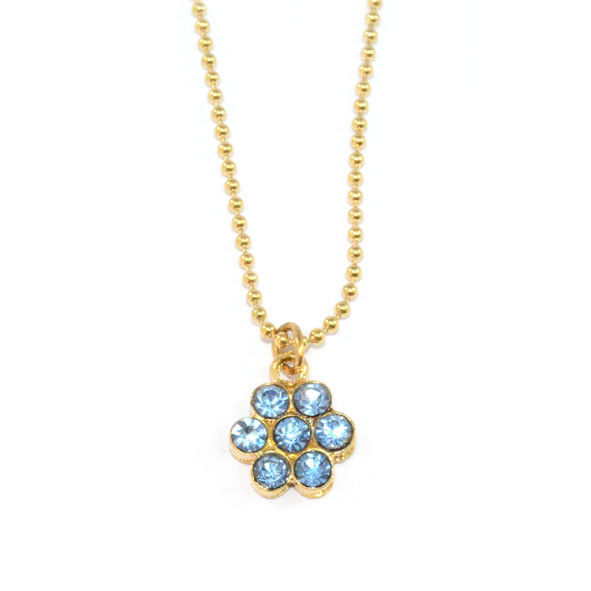 LIGHT BLUE CRYSTAL FLOWER NECKLACE - product image