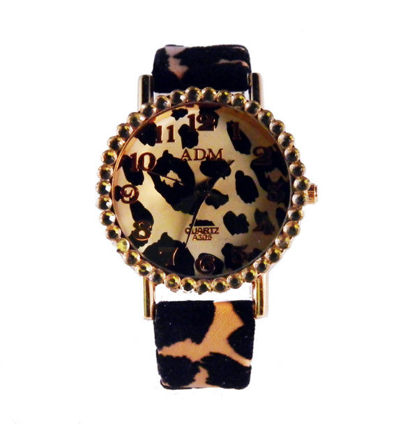 LEOPARD PRINT WITH CRYSTAL WATCH - product image