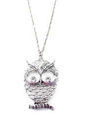 LARGE,OWL,WITH,DOUBLE,CRYSTAL,NECKLACE