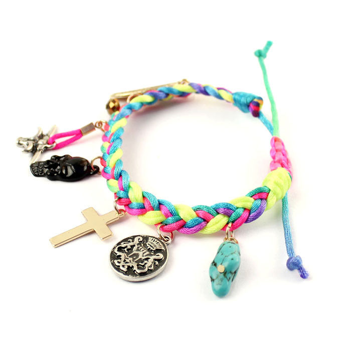 WOVEN STRAPS WITH MULTI PENDANTS BRACELET - product image