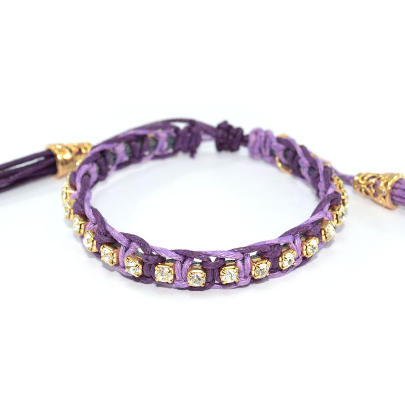 WOVEN PURPLE STRING WITH CRYSTALS BRACELET - product images  of