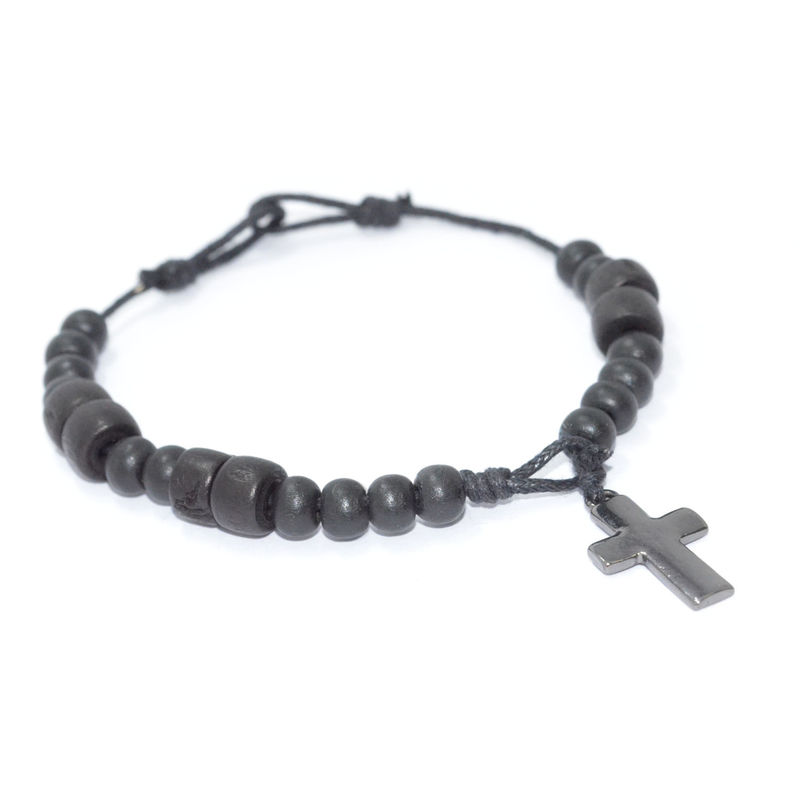 WOODEN BEADS WITH CROSS BRACELET - product image
