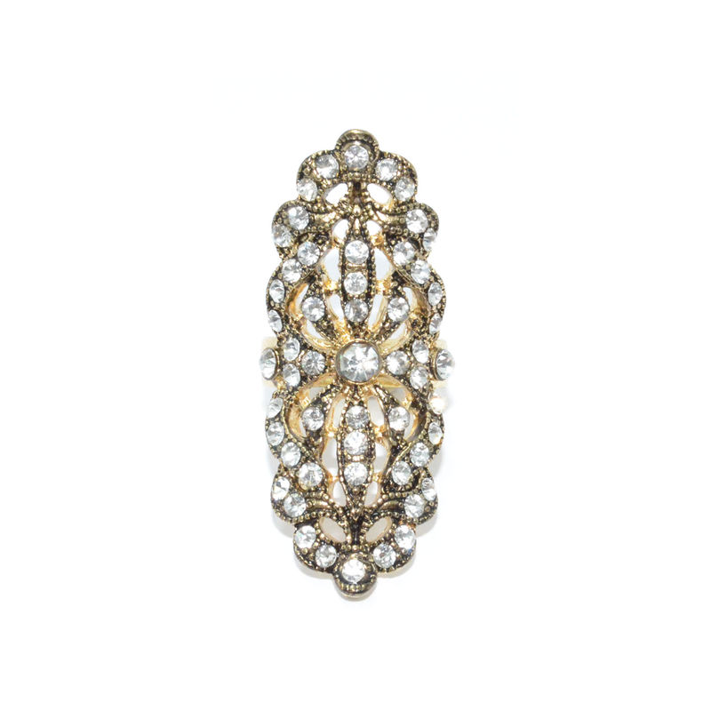 VINTAGE STYLE WITH CRYSTALS DECOR HOLLOW RING - product image