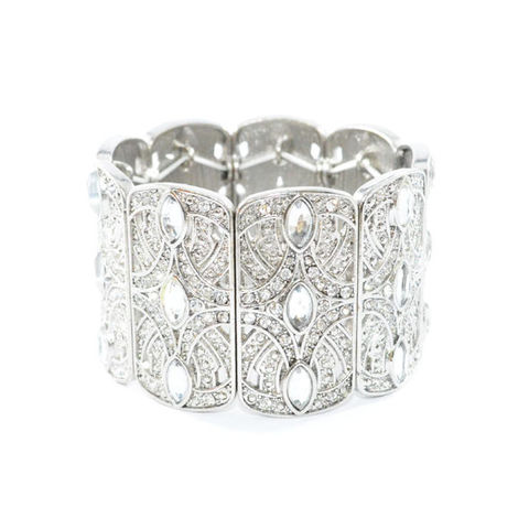 VINTAGE,STYLE,SILVER,TONE,PATTERN,WITH,CRYSTALS,ELASTIC,BANGLE,vendor-unknown,Cart2Cart